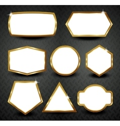 gold frames isolated on black background vector image vector image