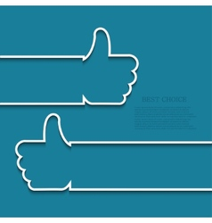 modern white thumb up icon vector image vector image