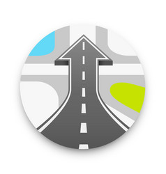 Road with an arrow up road cover up vector