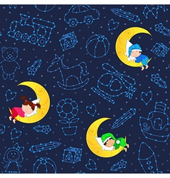 seamless pattern with children sleeping on moon vector image