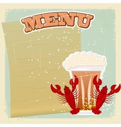 Vintage Beer Crayfish Menu vector image vector image