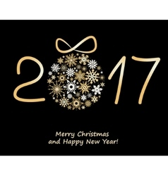 Christmas greeting card 2017 with golden balls vector image vector image