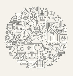 vet clinic line icons circle vector image