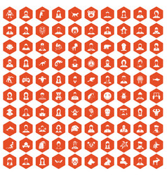 100 avatar icons hexagon orange vector