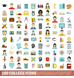 100 college icons set flat style vector