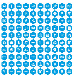 100 logistics icons set blue vector