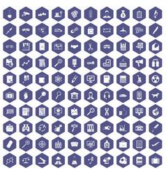 100 magnifier icons hexagon purple vector