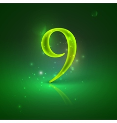 9 Green glowing number nine vector image