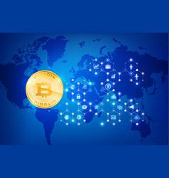 abstract dark blue background bitcoin concept vector image