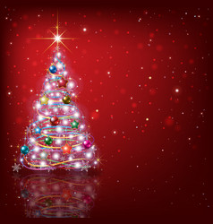 Abstract red background with Christmas tree and vector