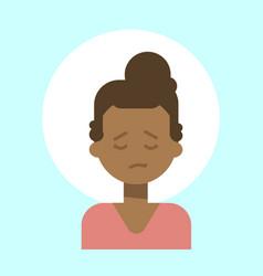 african american female sad emotion profile icon vector image