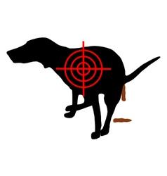Aim at dog crapping vector image vector image