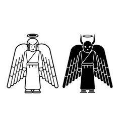 angel and devil icon cartoon graphic vector image