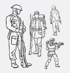 Army soldier pose action hand drawing vector