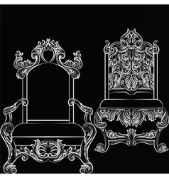 Baroque luxury style furniture set vector