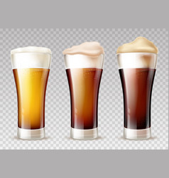 Beer types poured in glasses realistic vector