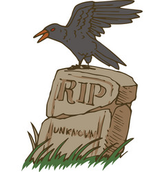 Big black crow and old gravestone vector