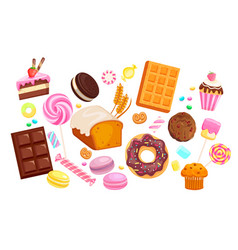big set isolated sweets vector image