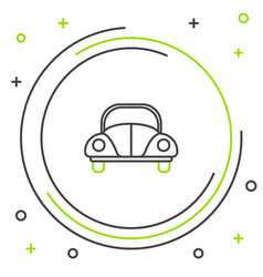 Black and green line car volkswagen beetle icon vector