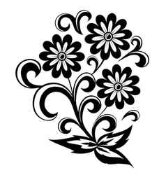 Black and white abstract flower with leaves vector