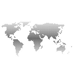 Black halftone world map of small dots in diagonal vector