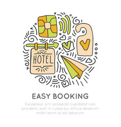 Booking hotel and resortes icon concept vector