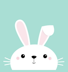 Bunny rabbit face head cute cartoon kawaii funny vector