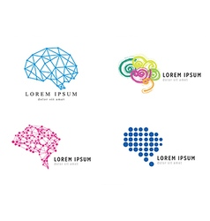 Business brain icons set vector image