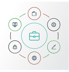 Business outline icons set collection of wallet vector