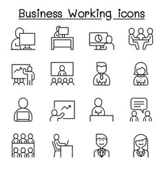 business working icon set in thin line style vector image