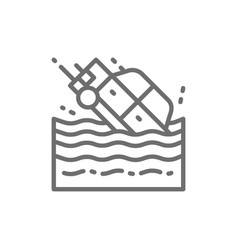 car sinks in water line icon vector image