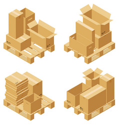 Cardboard boxes and wood pallet vector