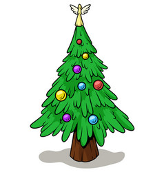 cartoon christmas tree with angel on top vector image
