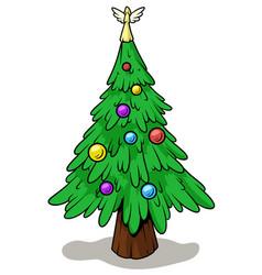 cartoon christmas tree with angel on top vector image