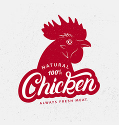 Chicken logo label print poster for butchery vector