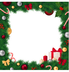 christmas frame realistic composition vector image