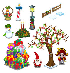 christmas set of street decorations and gifts vector image