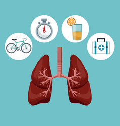 Color background with respiratory system with vector