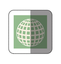 color sticker square with globe earth icon vector image