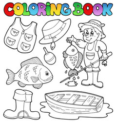 Coloring book with fishing gear vector