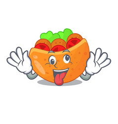 crazy pita bread filled with vegetable mascot vector image