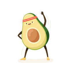 Cute and funny avocado doing fitness or sports vector