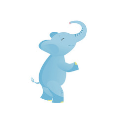 cute baby elephant standing on two legs light vector image
