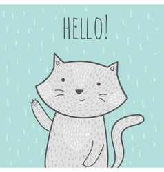 Cute hand drawn doodle card with a cat that says vector image