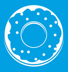 Donut icon white vector