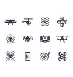 drones quadrocopters icons on white vector image