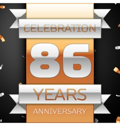 Eighty six years anniversary celebration golden vector