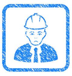 Engineer framed stamp vector