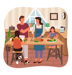family cooking meal parents children in kitchen vector image