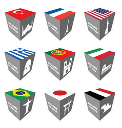Flag and ancient monuments on cube vector